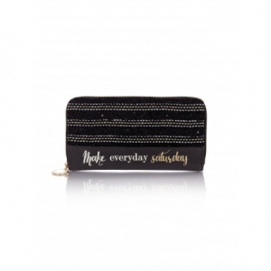 PORTAFOGLIO WALLET 2.0 SATURDAY WOOL BLACK - LE PANDORINE