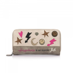 LE PANDORINE - WALLET SMILEY HAPPINESS  BEIGE